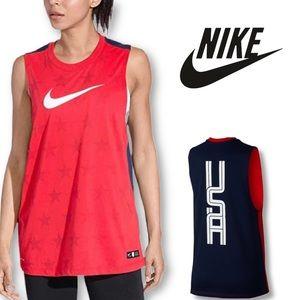 Nike Dry Americana Muscle Tank Top Red EUC XS